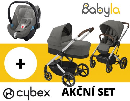 AKČNÍ SET CYBEX BALIOS S LUX + CARRY COT SOHO GREY 2020 + CYBEX ATON 5 SOHO GREY