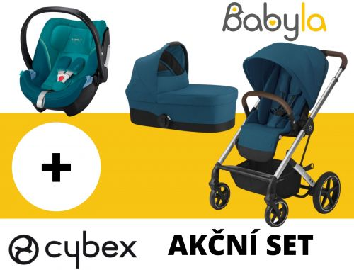 AKČNÍ SET BALIOS S LUX + CARRY COT RIVER BLUE + CYBEX ATON 5 RIVER BLUE